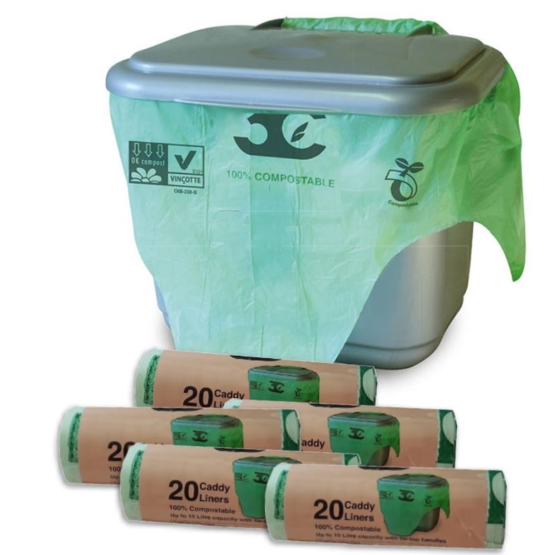 200 x 10 litre tie top compostable food waste caddy bin. Black Bedroom Furniture Sets. Home Design Ideas
