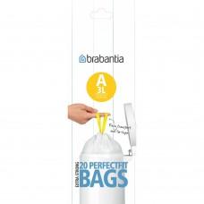 Size A x 240 Brabantia PerfectFit 3L Bin Liner Bags (12 x Rolls of 20 bags)