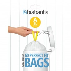 Size A x 180 Brabantia PerfectFit 3L Bin Liner Bags (3 x Dispenser Packs of 60 bags)