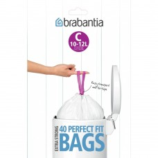 Size C x 160 Brabantia PerfectFit 10-12L Bin Liner Bags (4 x Dispenser Packs of 40 bags)