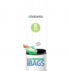 Size K x 60 Brabantia PerfectFit Compostable 10L Bin Liner Bags (6 x Rolls of 10 bags)
