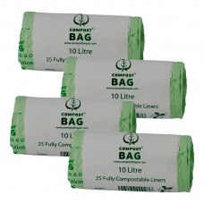 10 Litre x 100 BioBag Compostable Biodegradable Food Waste Caddy Bin Liner Bags (10L)