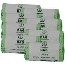 10 Litre x 200 BioBag Compostable Biodegradable Food Waste Caddy Bin Liner Bags (10L)