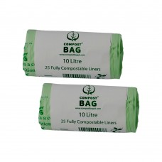 10 Litre x 50 BioBag Compostable Biodegradable Food Waste Caddy Bin Liner Bags (10L)