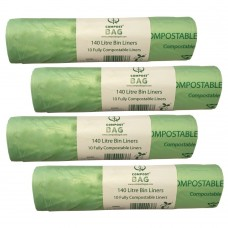 140 Litre x 40 BioBag Compostable Biodegradable Food / Garden Waste Wheelie Bin Liner Bags (140L)