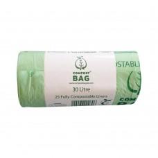 30 Litre x 25 BioBag Compostable Biodegradable Food Waste Bin Liner Bags (30L)