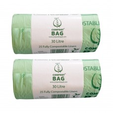 30 Litre x 50 BioBag Compostable Biodegradable Food Waste Bin Liner Bags (30L)