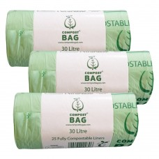 30 Litre x 75 BioBag Compostable Biodegradable Food Waste Bin Liner Bags (30L)
