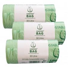 30 Litre x 75 BioBag Compostable Biodegradable Food Waste Bin Liner Bags (30L)