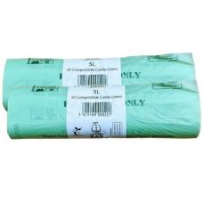 5 Litre x 100 BioBag Compostable Biodegradable Food Waste Caddy Bin Liner Bags (5L) EN13432