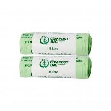8 Litre x 50 BioBag Compostable Biodegradable Food Waste Caddy Bin Liner Bags (8L)
