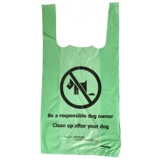 300 x Green biodegradable tie-handle dog waste / doggy poo poop bags