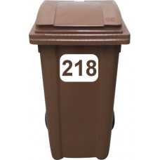 Vinyl Wheelie Bin Triple Digit (100-999) House Number Sticker (Block Style)