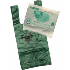 50 (1 x pack) Large EXO Biodegradable Tie-Handle Dog Waste / Doggy Poo Poop Bags - Strong