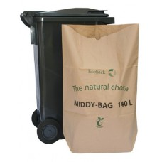 EcoSack 140 Litre x 10 Compostable Biodegradable  Paper Wheelie Bin Liner Bag / Sack (140L)