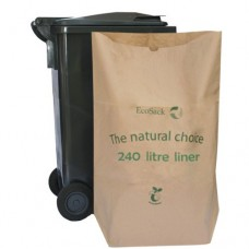 EcoSack 240 Litre x 20 Compostable Biodegradable  Paper Wheelie Bin Liner Bag / Sack (240L)
