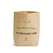 EcoSack 25 Litre x 25 Compostable Biodegradable  Paper Food Waste Caddy Bin Liner Bags (25L)