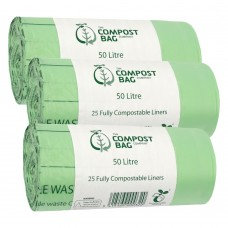 50 Litre x 75 BioBag Compostable Biodegradable Food Waste Caddy Bin Liner Bags (50L)